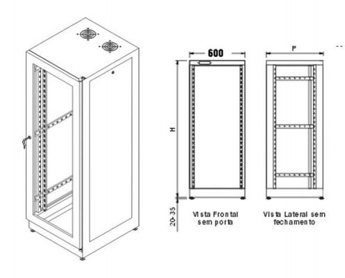 Rack Indoor 40U x 900mm